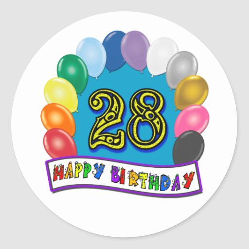 28th Birthday Gifts with Assorted Balloons Design Round Stickers