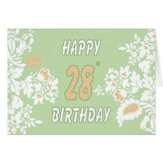 28th birthday greeting card