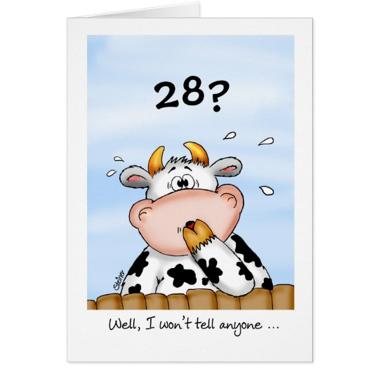 28th Birthday- Humourous Card with surprised cow
