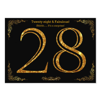 28th Birthday party,Gatsby styl,black gold glitter Card