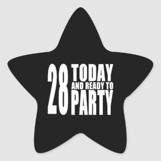 28th Birthdays Parties : 28 Today & Ready to Party Star Sticker