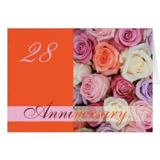28th Wedding Anniversary Card pastel roses