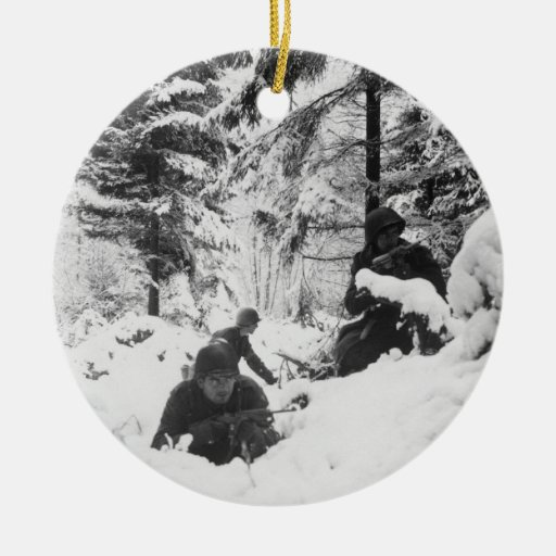 290th American Regiment in the Battle of the Bulge Christmas Tree Ornament