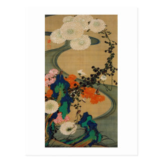 29. 菊花流水図, 若冲 Chrysanthemum & Stream, Jakuchū Postcard