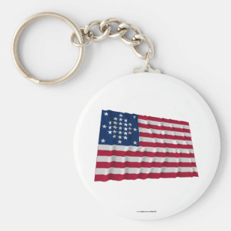 29-star flag, Diamond pattern, outliers Basic Round Button Key Ring