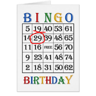 29th Birthday Bingo card