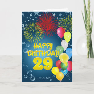 29th Birthday Card With Fireworks And Balloons