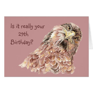 29th Birthday Funny or Insulting Cute Curious Bird Greeting Card