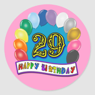 29th Birthday Gifts with Assorted Balloons Design Round Stickers
