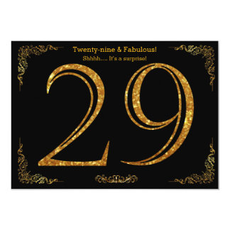 29th Birthday party,Gatsby styl,black gold glitter Card
