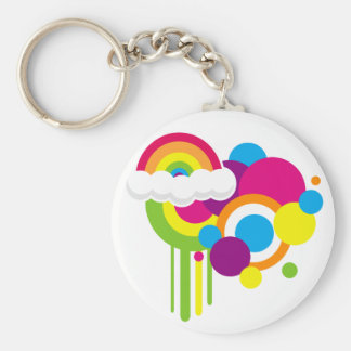 "2 1/4"" Retro Rainbow Key Chain (White)"