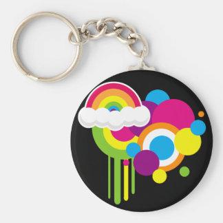 "2 1/4"" Retro Rainbow Magnet (Black) Basic Round Button Key Ring"