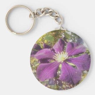 """2-1/4"""" Round Keychain Passionate Purple Flower"""