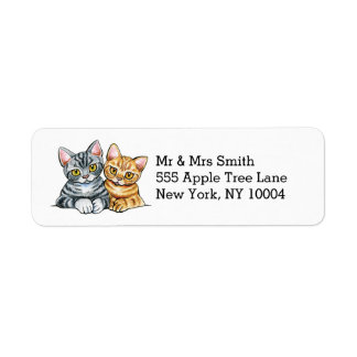 2 American Shorthairs Return Address Label