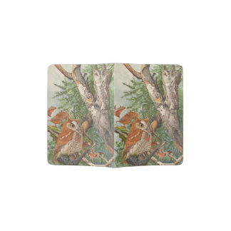2 angry vintage owls in a tree passport holder