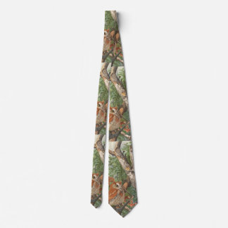 2 angry vintage owls in a tree tie