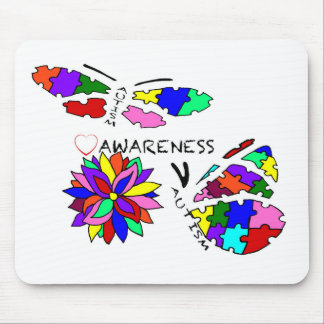 2 Autism Awareness Butterflies with flower Mouse Pad
