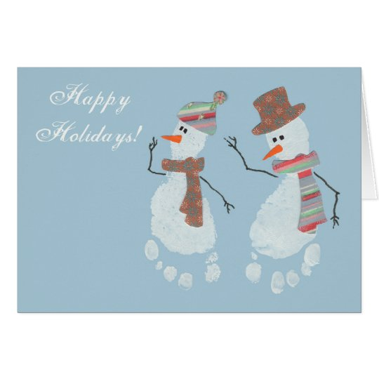 2 Baby Footprint Snowmen - Happy Holidays! Card