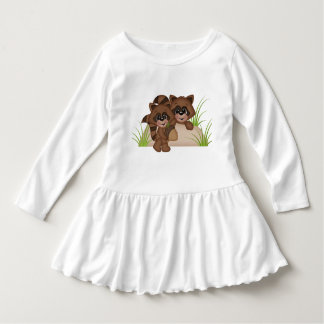 2 Baby Raccoons on a Rock woodland animals brown Dress