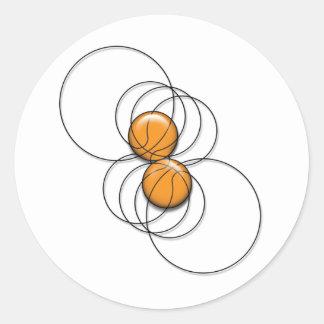 2 Basketball Pattern - 3D Round Sticker