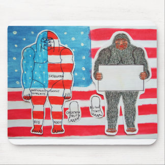 2 big foot A, flag & text on U.S.A. flag, Mouse Pad