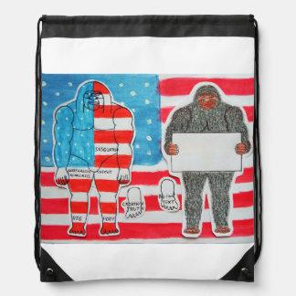 2 big foot, flag & text on U.S.A. flag, Drawstring Bag