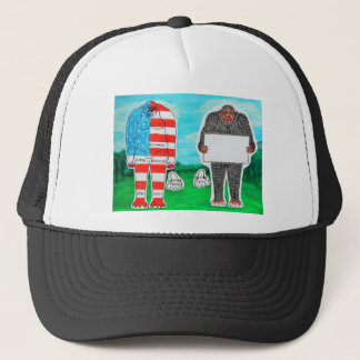 2 big foot H,text & flag in U.S.A. forest,.JPG Trucker Hat