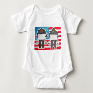 2 big foot text, on U.S.A. flag. Baby Bodysuit