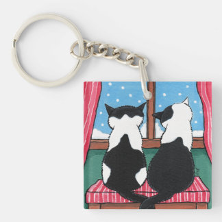 2 Black & White Cats at Snowy Window Double-Sided Square Acrylic Key Ring