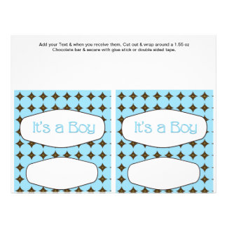 2 Blue Baby Shower Favor Custom Candy Bar Wrappers 21.5 Cm X 28 Cm Flyer