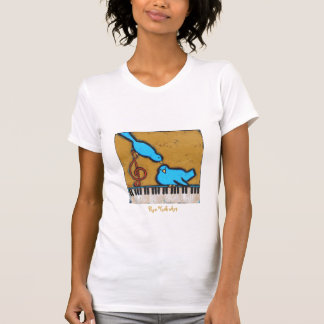 2 bluebirds on piano t-shirt on white