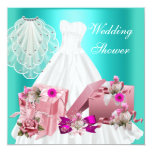 2 Bridal Wedding Shower Fuchsia Turquoise Pink 13 Cm X 13 Cm Square Invitation Card