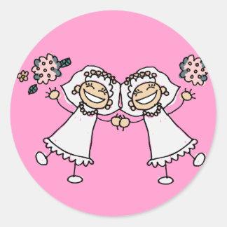 2 Brides Round Sticker