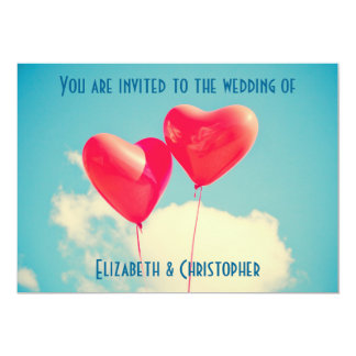 2 Bright Red Heart Shaped Balloons Wedding 13 Cm X 18 Cm Invitation Card