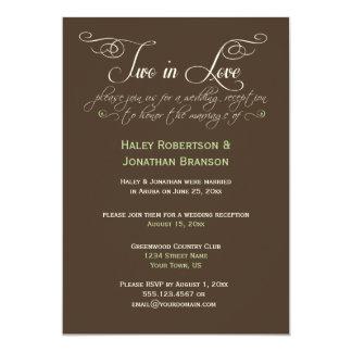 #2 Brown Ivory Lime Decorative Text Post Wedding 13 Cm X 18 Cm Invitation Card