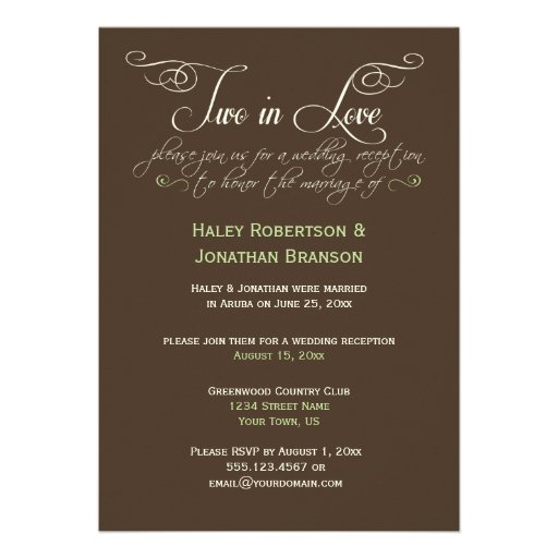 #2 Brown Ivory Lime Decorative Text Post Wedding Personalized Invite