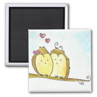 2 Brown Owls Cuddling Together Fridge Magnets