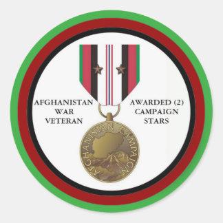 2 CAMPAIGN STARS AFGHANISTAN WAR VETERAN ROUND STICKER