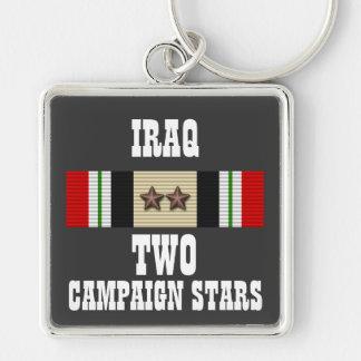 2 CAMPAIGN STARS / IRAQ VETERAN / KEY CHAIN