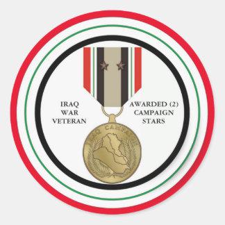 2 CAMPAIGN STARS IRAQ WAR VETERAN ROUND STICKER