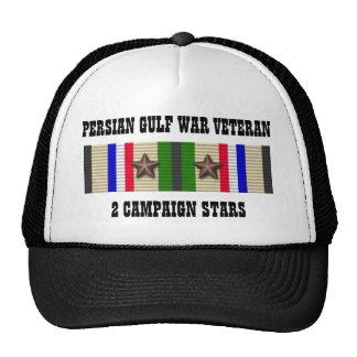 2 CAMPAIGN STARS / PERSIAN GULF WAR VETERAN TRUCKER HAT