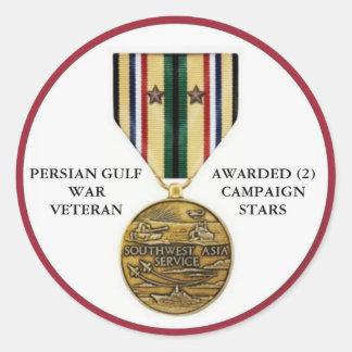2 CAMPAIGN STARS PERSIAN GULF WAR VETERAN CLASSIC ROUND STICKER