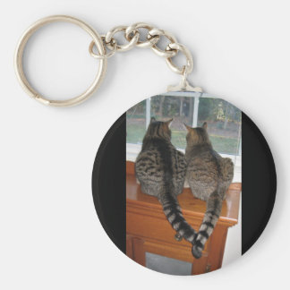 2 Cats Looking Out A Window Keychain. Cute! Basic Round Button Key Ring