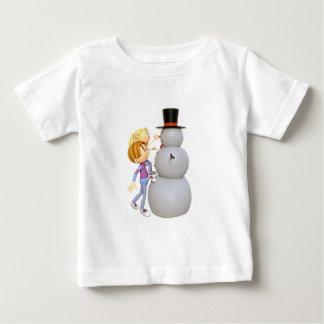 2 Children Making a Snowman Baby T-Shirt