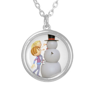 2 Children Making a Snowman Silver Plated Necklace