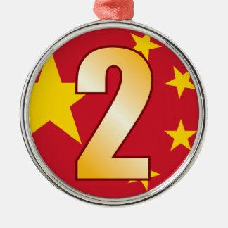 2 CHINA Gold Christmas Ornament