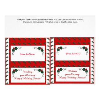 2 Christmas Holiday Holly Candy Bar Wrappers 21.5 Cm X 28 Cm Flyer