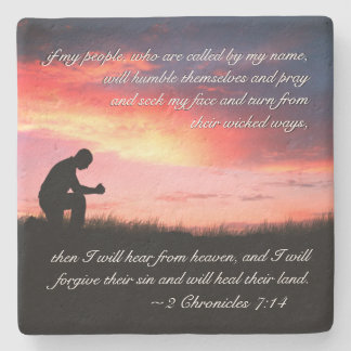 2 Chronicles 7:14 Bible Verse Man Kneeling to Pray Stone Coaster