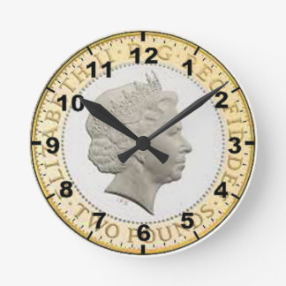 """£2 Coin (Queen's head)"" design wall clocks"