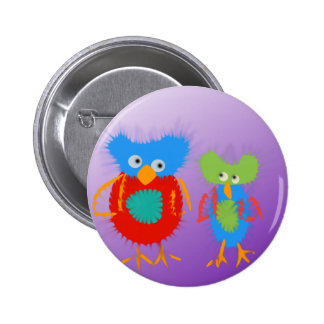 2 colorful owls button